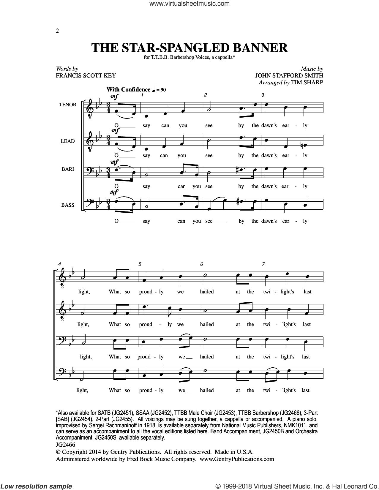 The Star-Spangled Banner sheet music for choir (TTBB: tenor, bass) by Tim Sharp, Francis Scott Key and John Stafford Smith, intermediate skill level