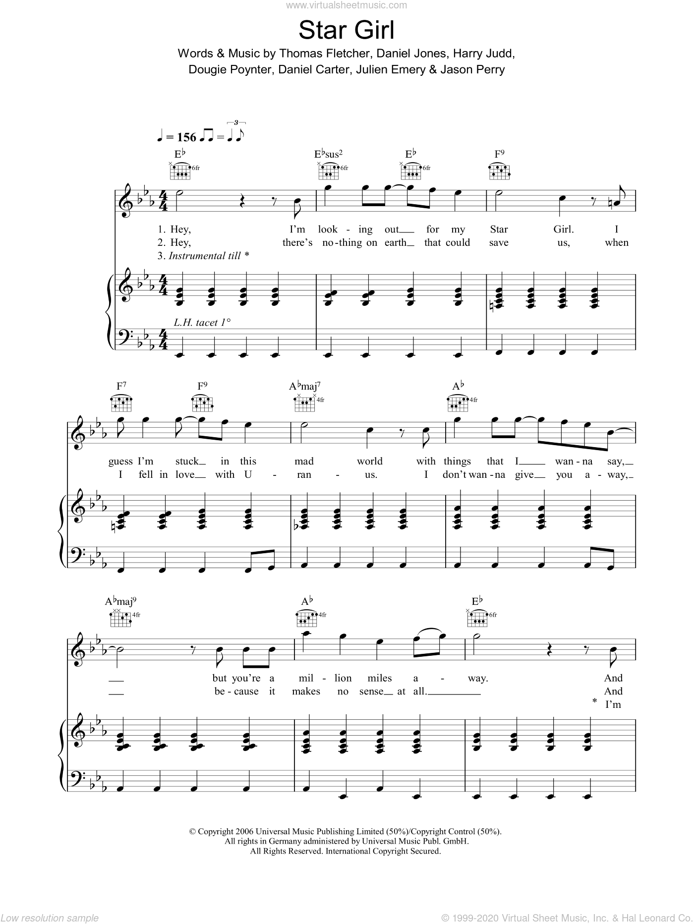 Star Girl sheet music for voice, piano or guitar by Thomas Fletcher, Daniel Carter, Danny Jones, Dougie Poynter and Jason Perry. Score Image Preview.