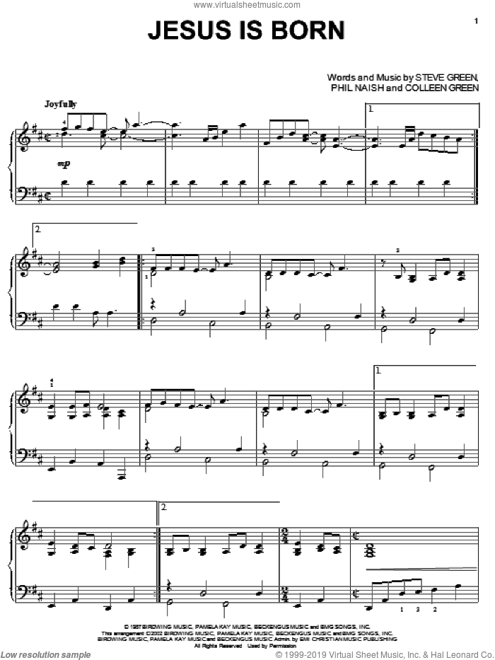 Jesus Is Born sheet music for piano solo by Steve Green, Christmas carol score, intermediate piano. Score Image Preview.