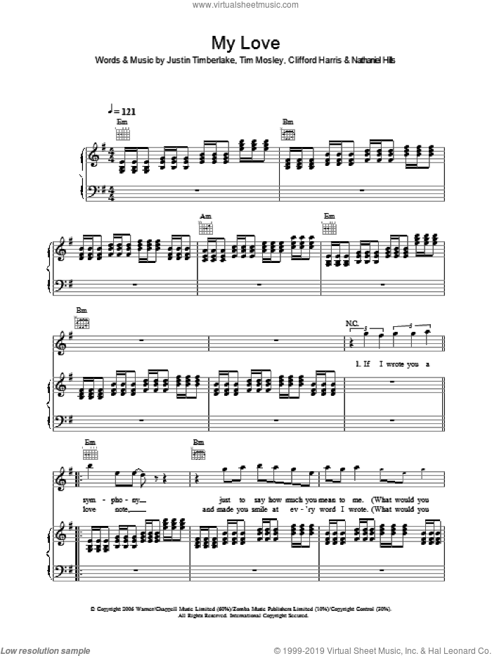 My Love sheet music for voice, piano or guitar by Justin Timberlake, Clifford Harris, Nathaniel Hills and Tim Mosley, intermediate. Score Image Preview.