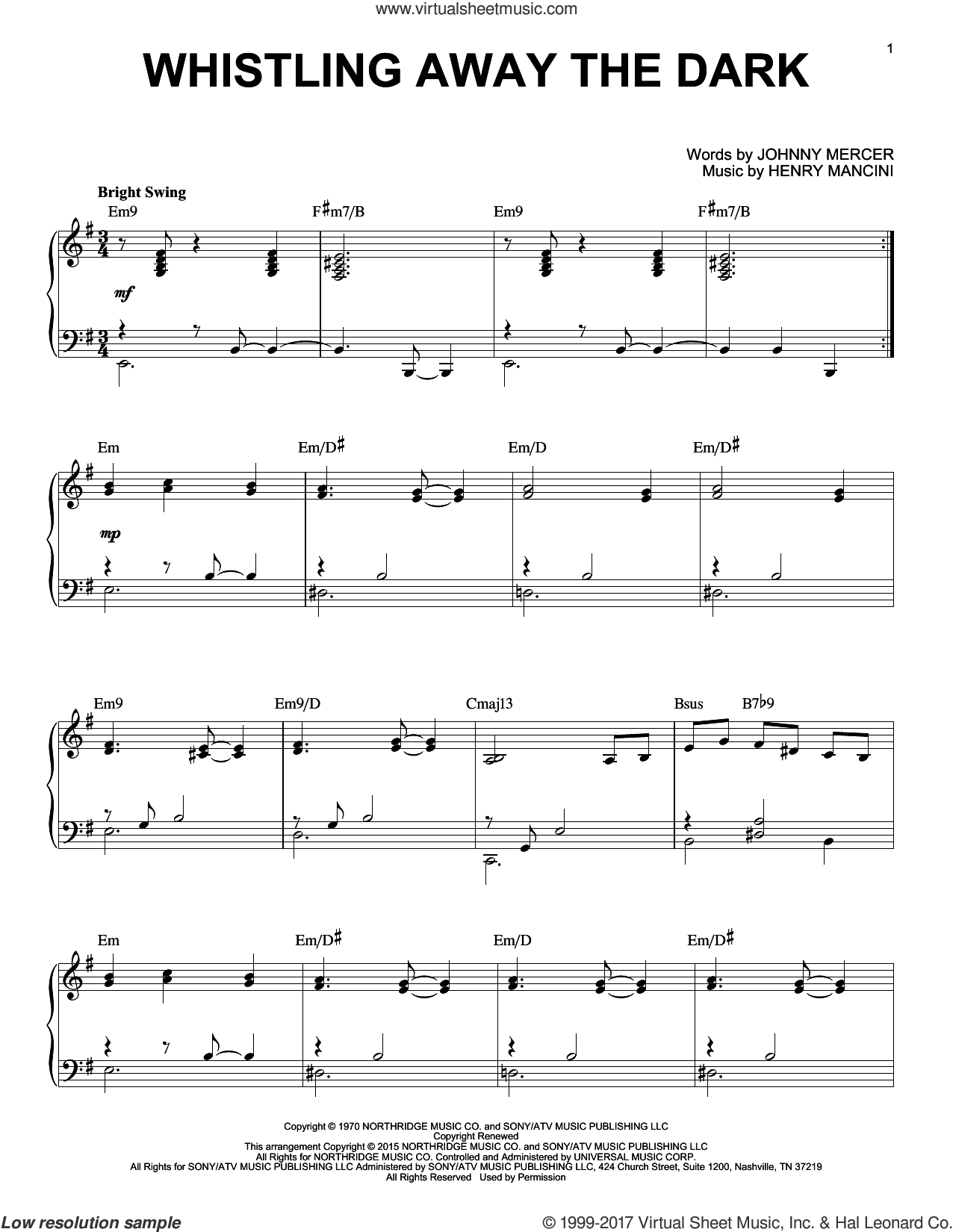 Whistling Away The Dark, (intermediate) sheet music for piano solo by Henry Mancini and Johnny Mercer, intermediate skill level