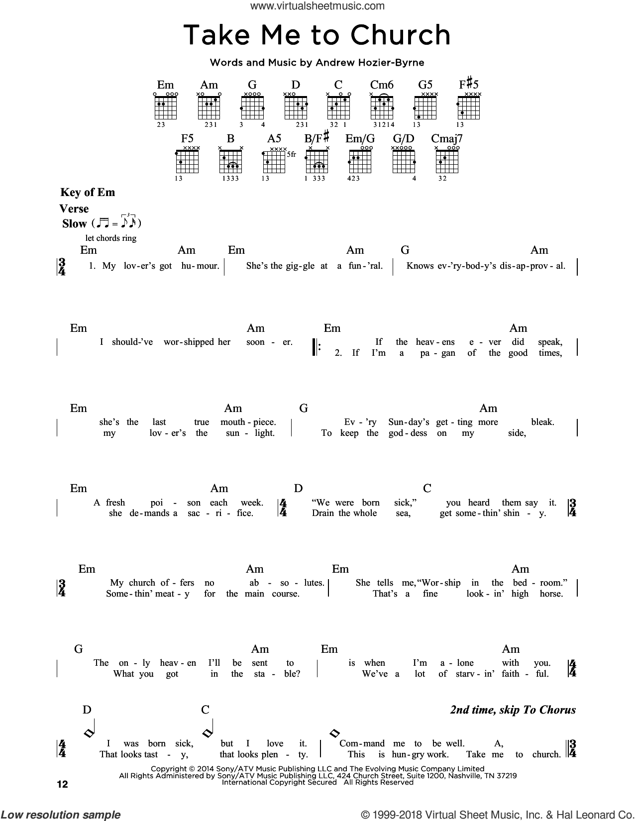 Take Me To Church sheet music for guitar solo (lead sheet) by Hozier and Andrew Hozier-Byrne, intermediate guitar (lead sheet)
