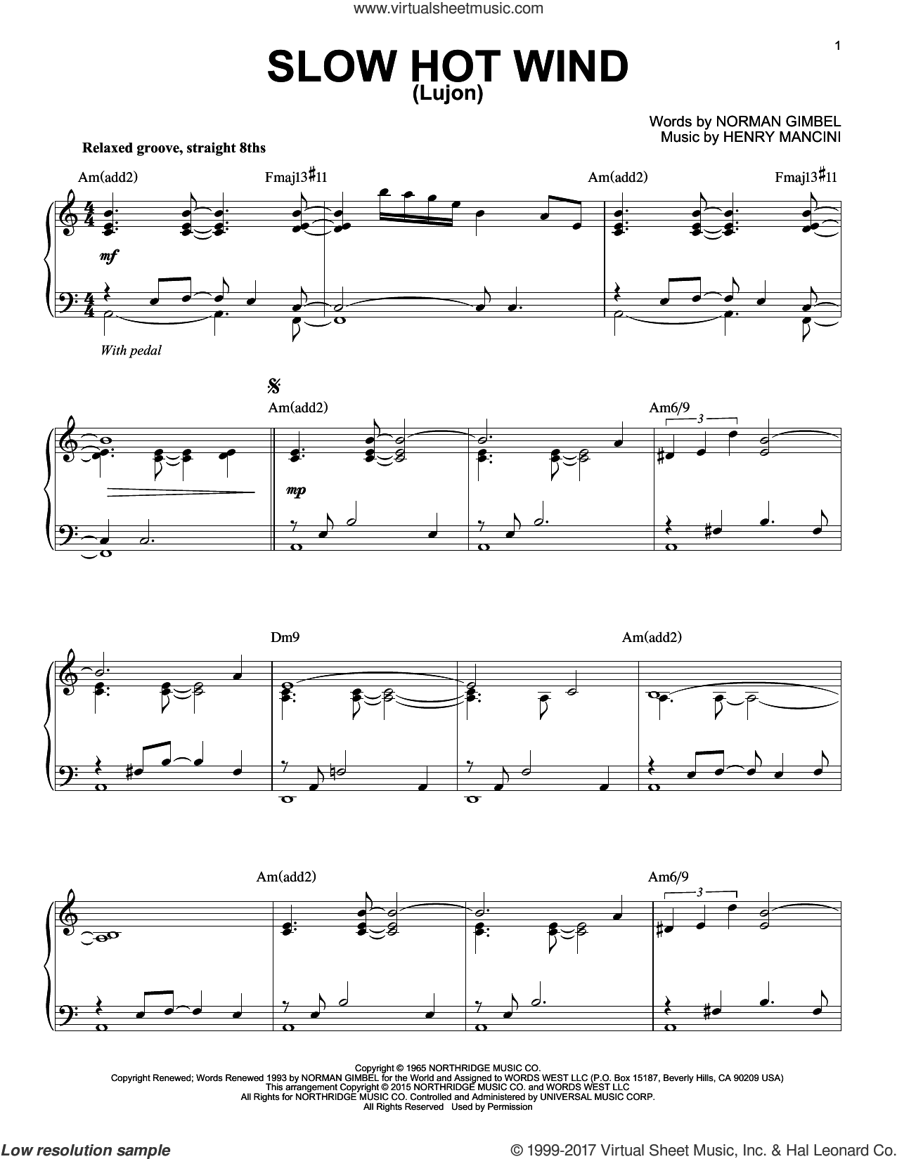 Slow Hot Wind (Lujon) sheet music for piano solo by Henry Mancini and Norman Gimbel, intermediate skill level