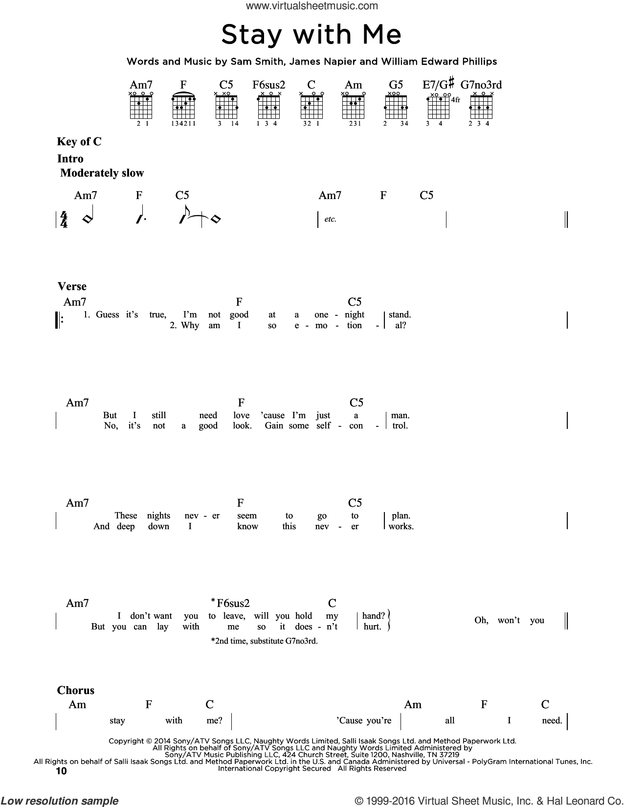 Stay With Me sheet music for guitar solo (lead sheet) by William Edward Phillips, James Napier, Jeff Lynne, Sam Smith and Tom Petty. Score Image Preview.