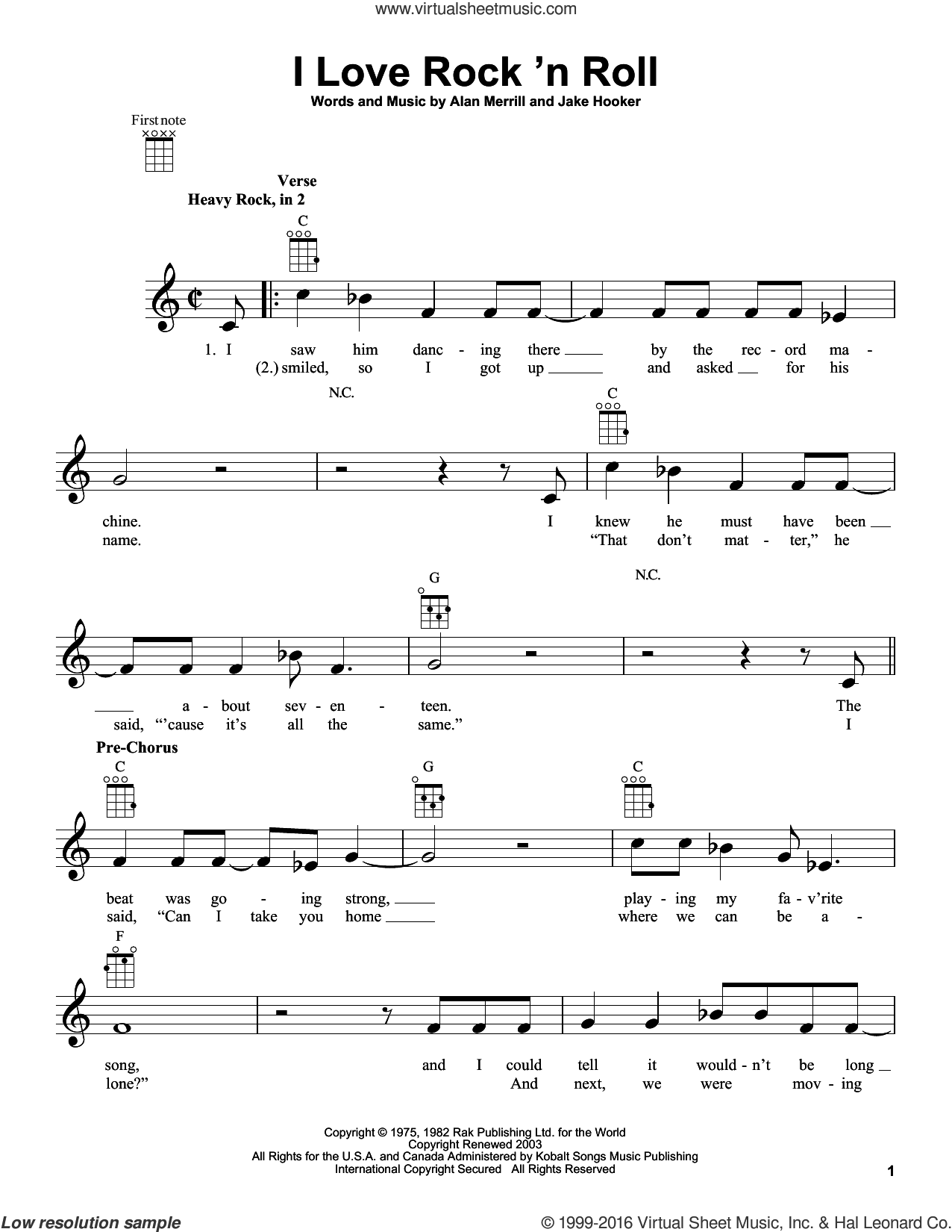 I Love Rock 'N Roll sheet music for ukulele by Jake Hooker and Joan Jett & The Blackhearts. Score Image Preview.