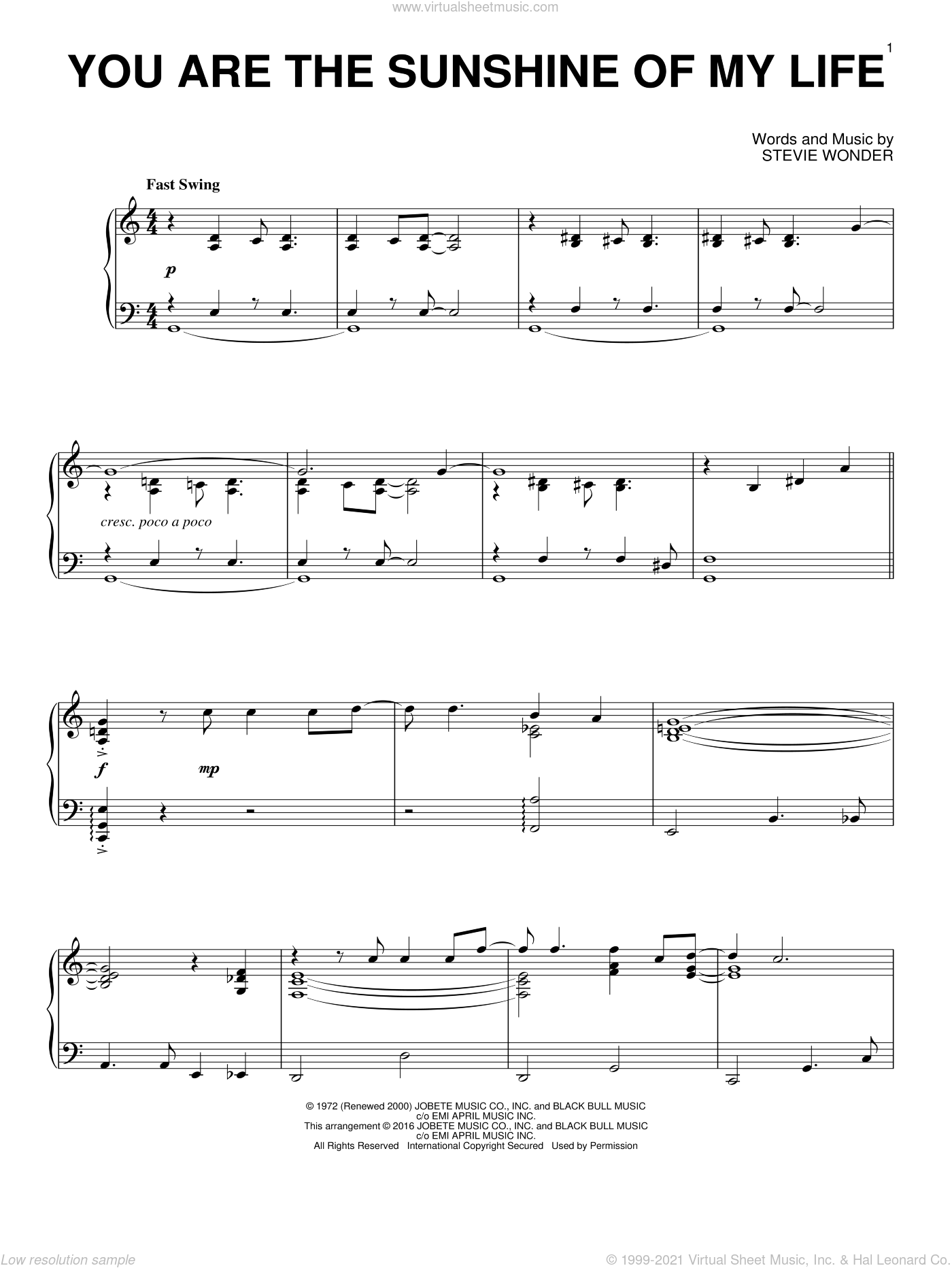 You Are The Sunshine Of My Life sheet music for piano solo by Stevie Wonder, intermediate skill level