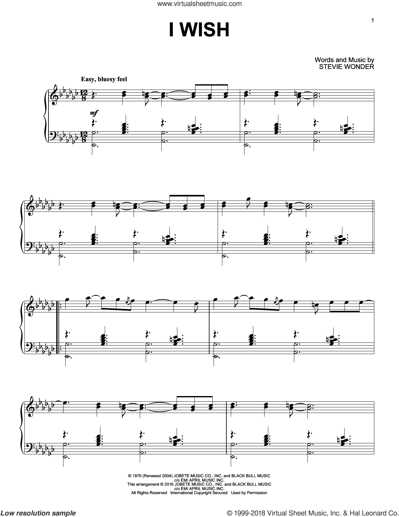 I Wish sheet music for piano solo by Stevie Wonder, intermediate skill level