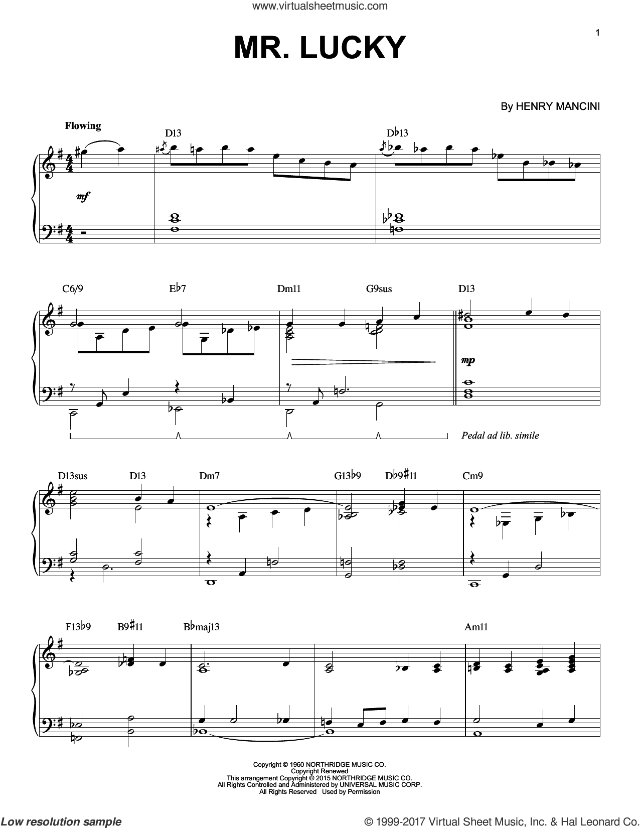 Mr. Lucky [Jazz version] (arr. Brent Edstrom) sheet music for piano solo by Henry Mancini, intermediate skill level