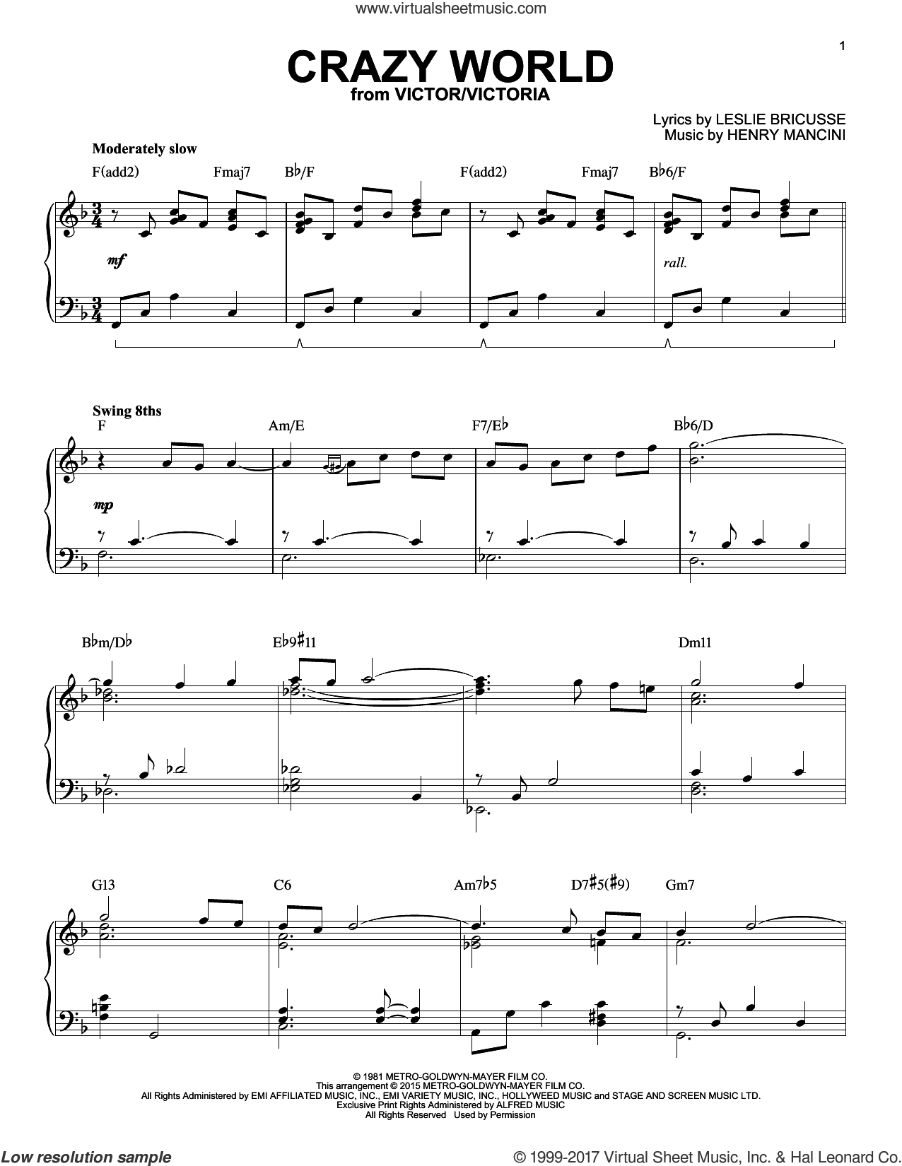 Crazy World [Jazz version] (arr. Brent Edstrom) sheet music for piano solo by Henry Mancini and Leslie Bricusse, intermediate skill level