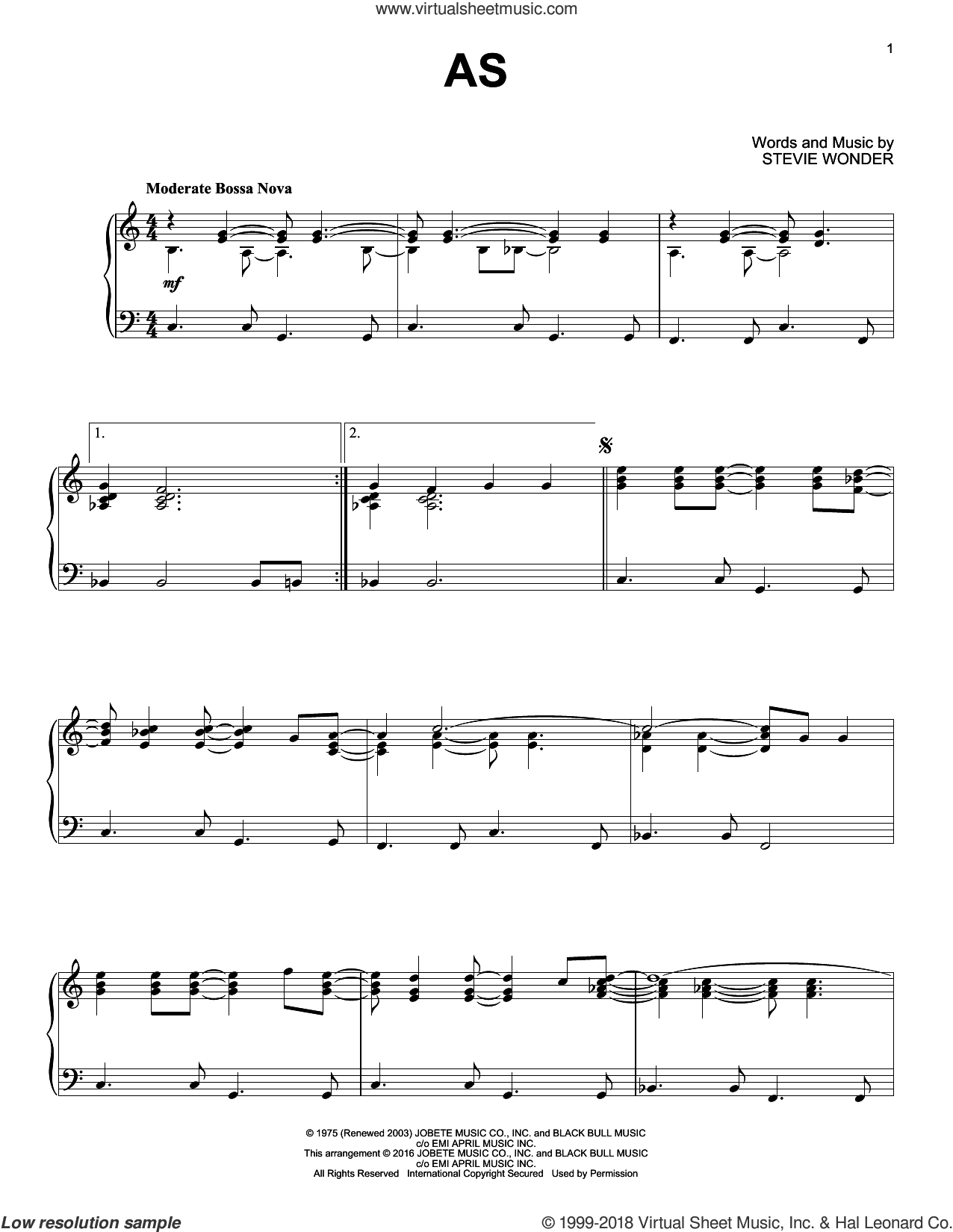 As sheet music for piano solo by Stevie Wonder, intermediate skill level