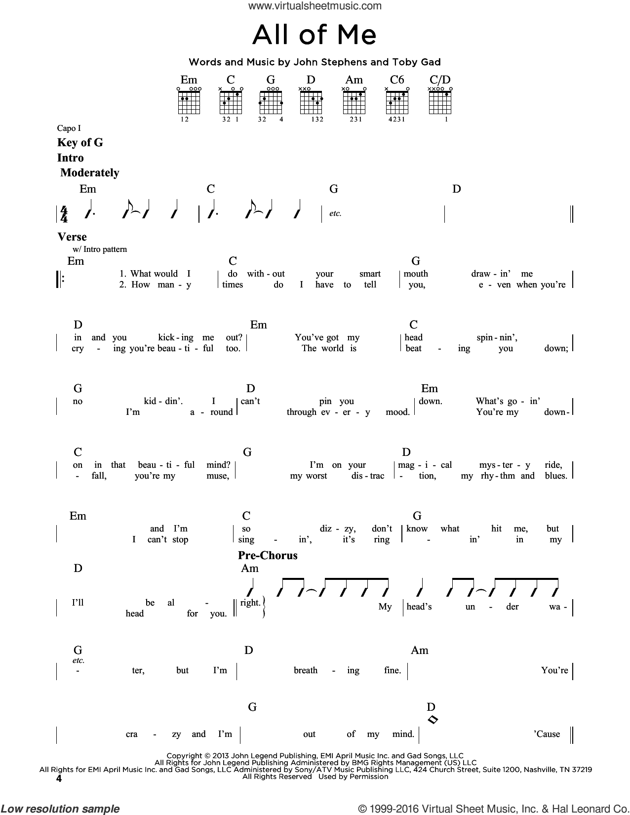 All Of Me sheet music for guitar solo (lead sheet) by John Legend, John Stephens and Toby Gad, wedding score, intermediate guitar (lead sheet)