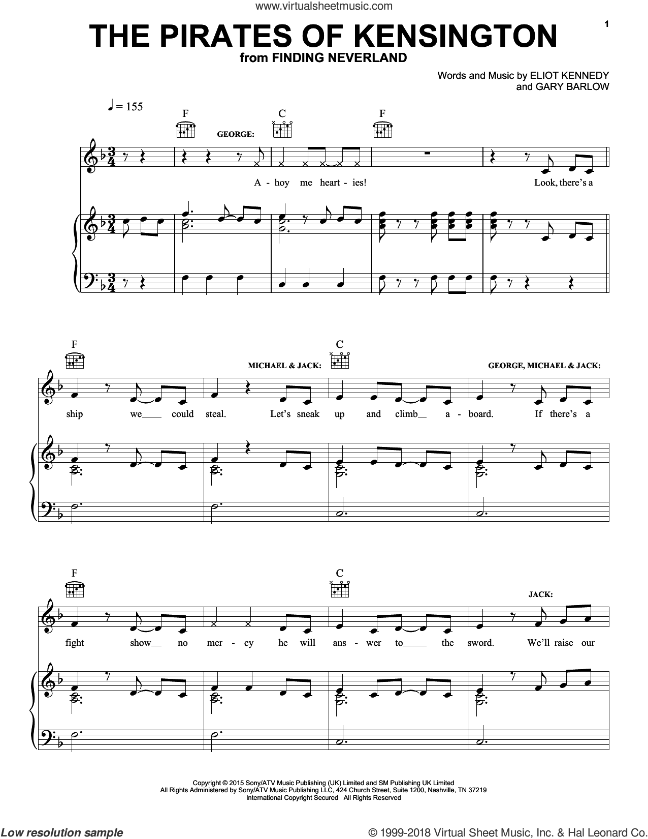 The Pirates Of Kensington sheet music for voice, piano or guitar by Eliot Kennedy and Gary Barlow, intermediate. Score Image Preview.