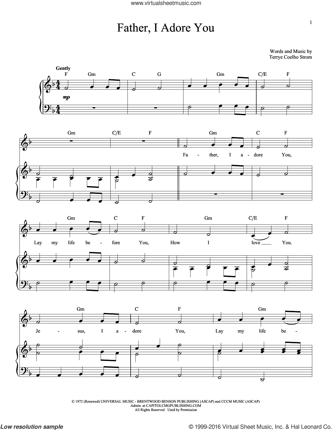 Father I Adore You sheet music for voice and piano by Terrye Coelho, intermediate skill level