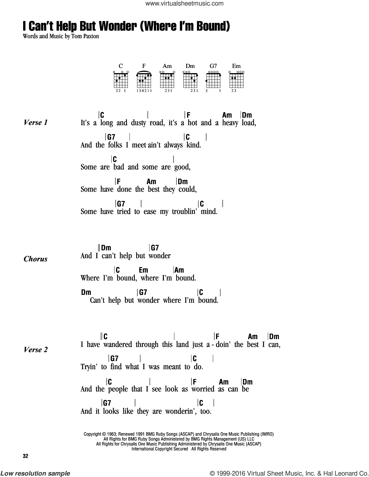I Can't Help But Wonder (Where I'm Bound) sheet music for guitar (chords) by Tom Paxton, intermediate skill level