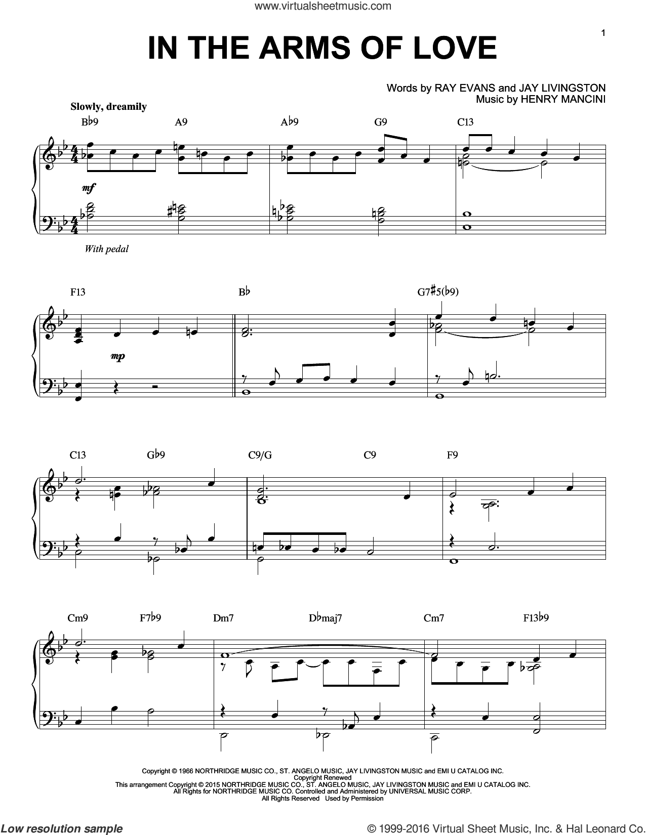 In The Arms Of Love sheet music for piano solo by Henry Mancini and Jay Livingston, intermediate. Score Image Preview.