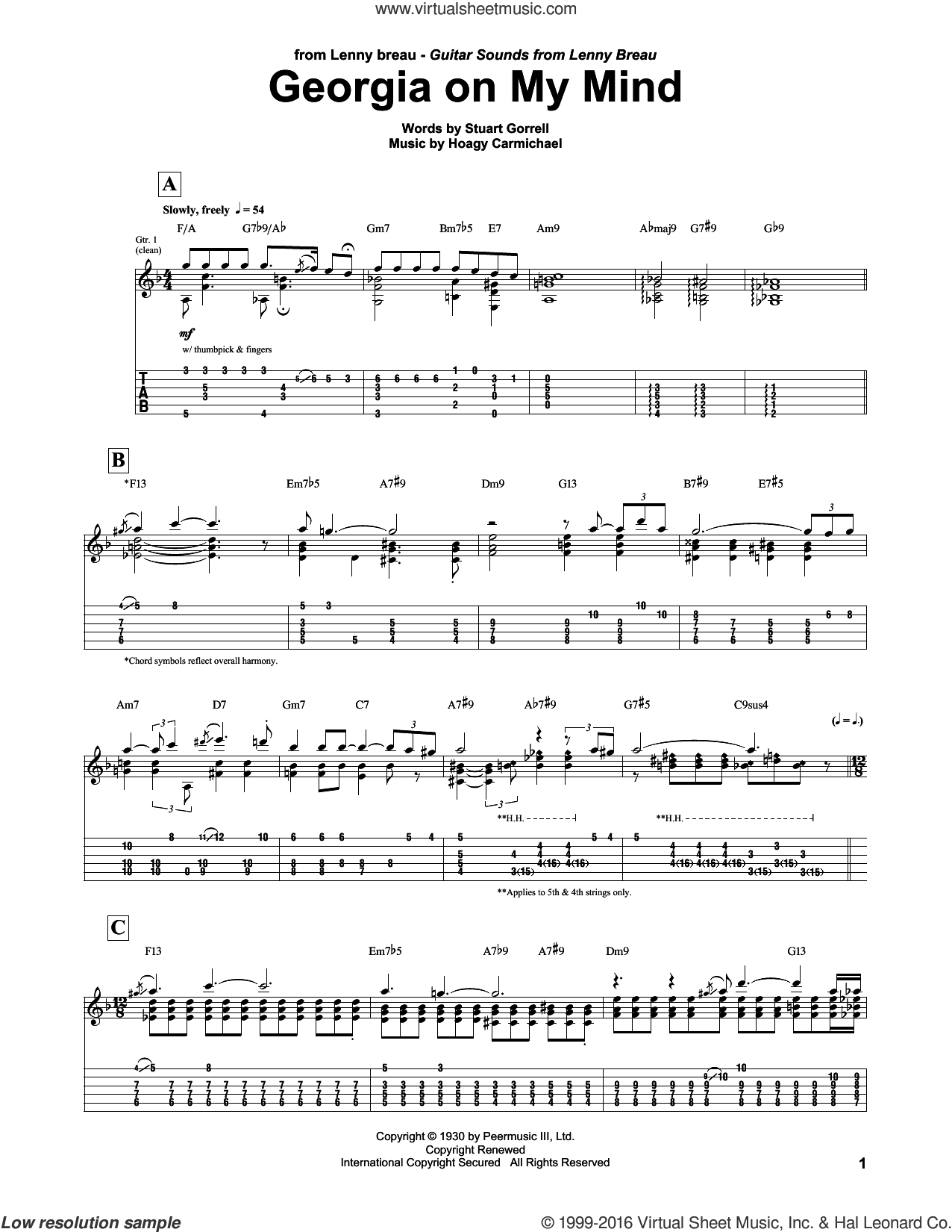 Georgia On My Mind sheet music for guitar (tablature) by Lenny Breau, Ray Charles, Willie Nelson, Hoagy Carmichael and Stuart Gorrell, intermediate skill level