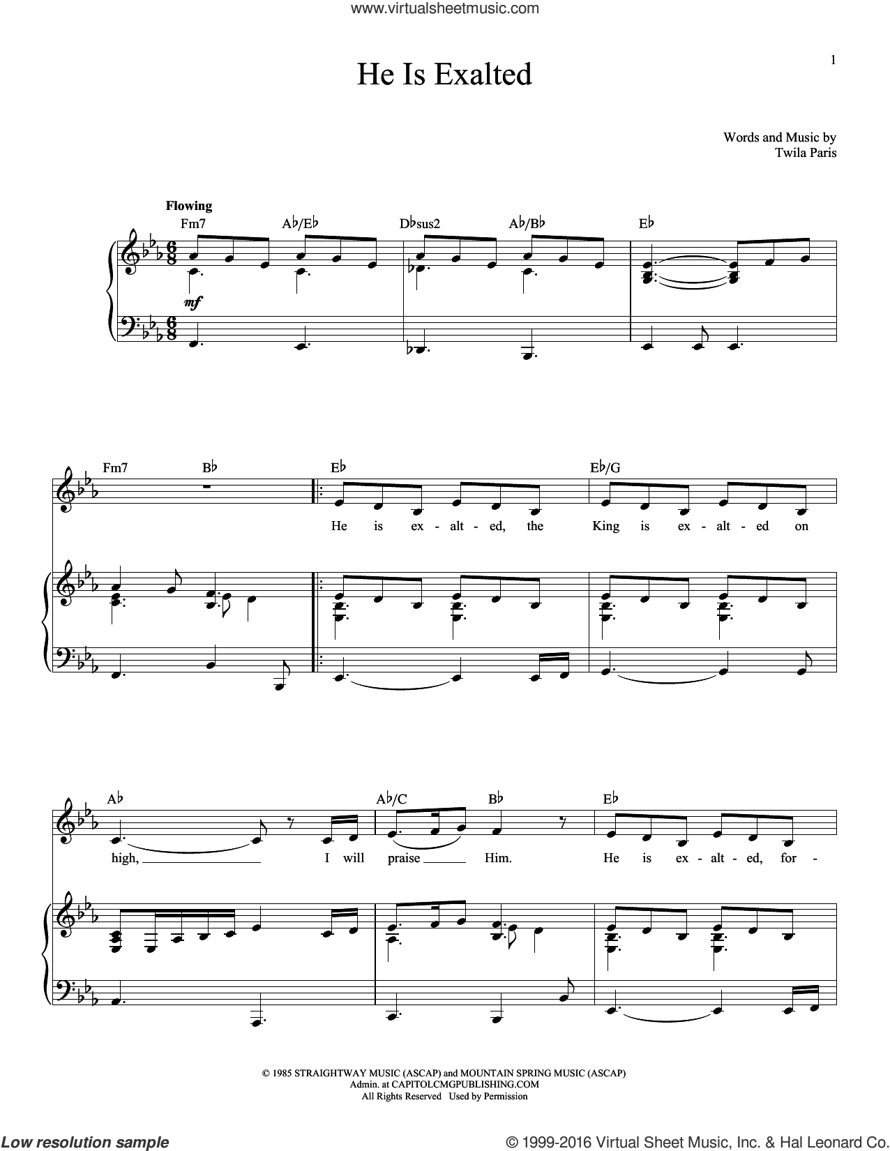 He Is Exalted sheet music for voice and piano by Twila Paris. Score Image Preview.