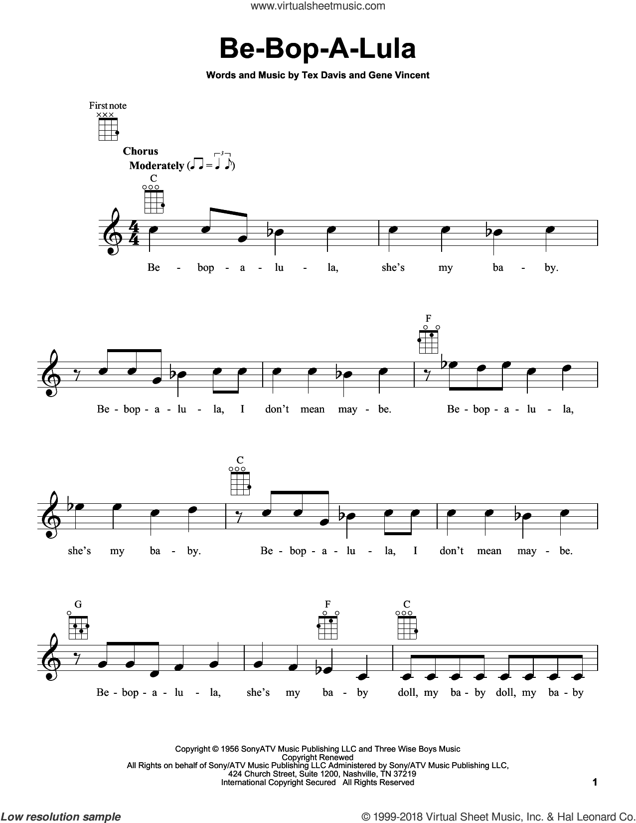 Be-Bop-A-Lula sheet music for ukulele by Gene Vincent & Tex Davis, Gene Vincent and Tex Davis, intermediate skill level