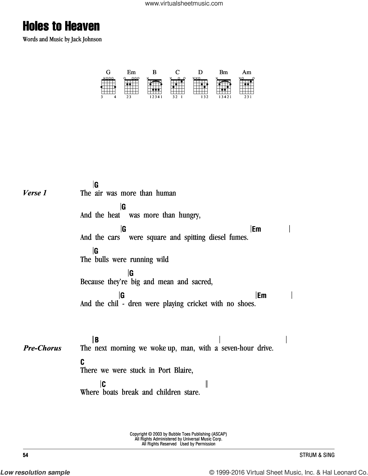Holes To Heaven sheet music for guitar (chords) by Jack Johnson