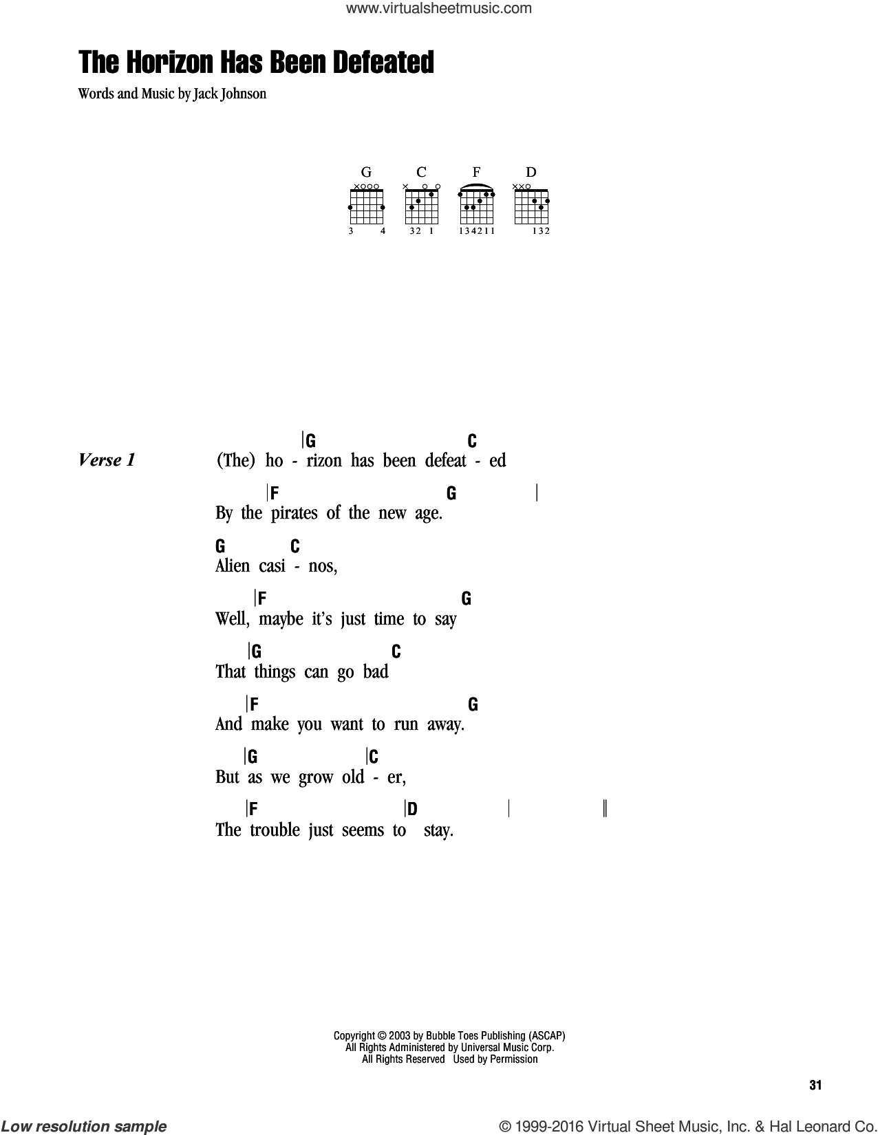 The Horizon Has Been Defeated sheet music for guitar (chords) by Jack Johnson. Score Image Preview.