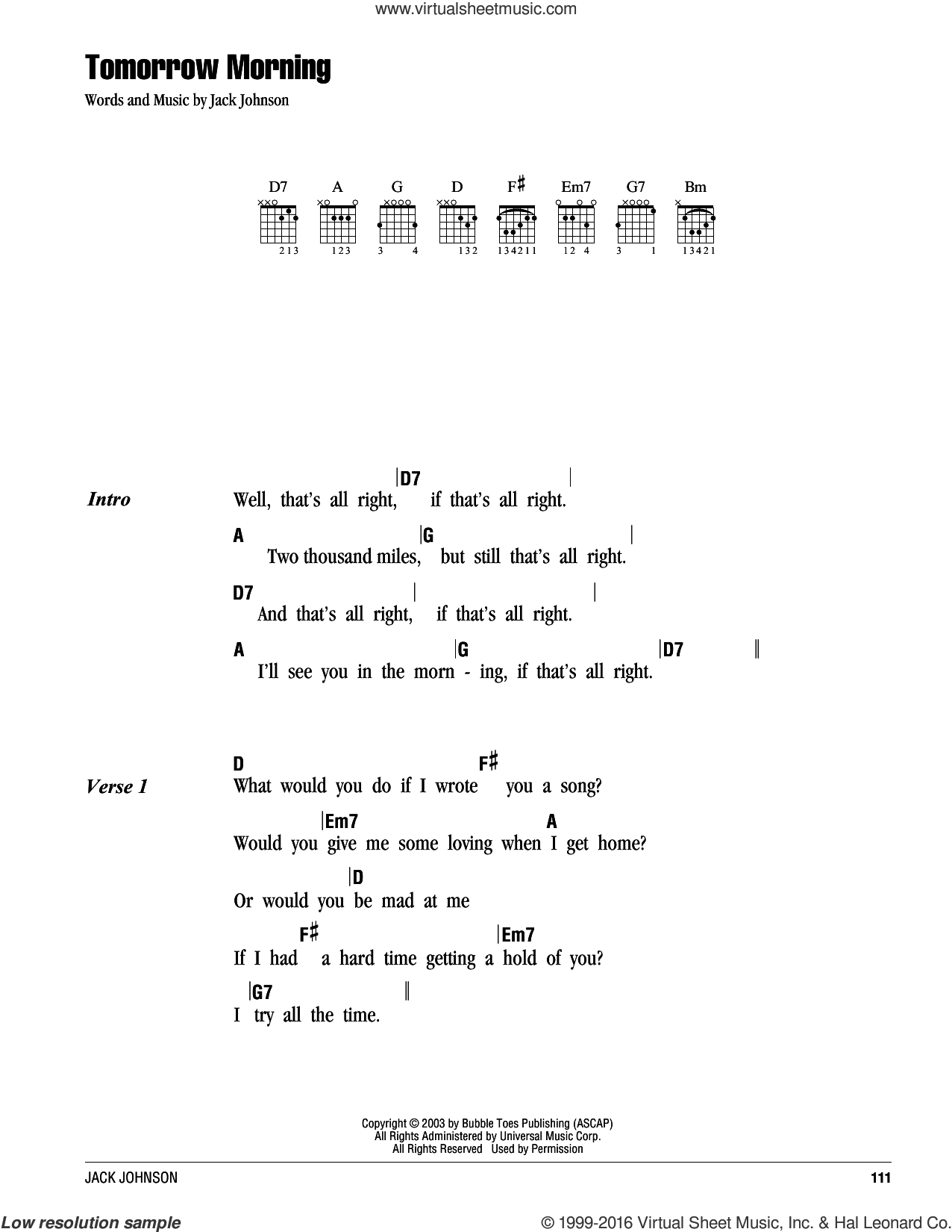 Tomorrow Morning sheet music for guitar (chords) by Jack Johnson. Score Image Preview.