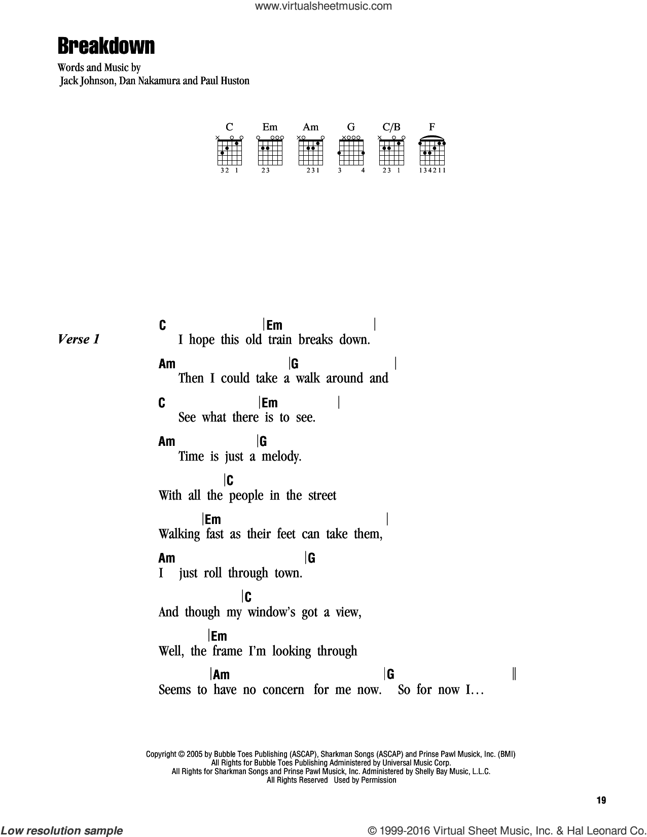 Breakdown sheet music for guitar (chords) by Jack Johnson. Score Image Preview.