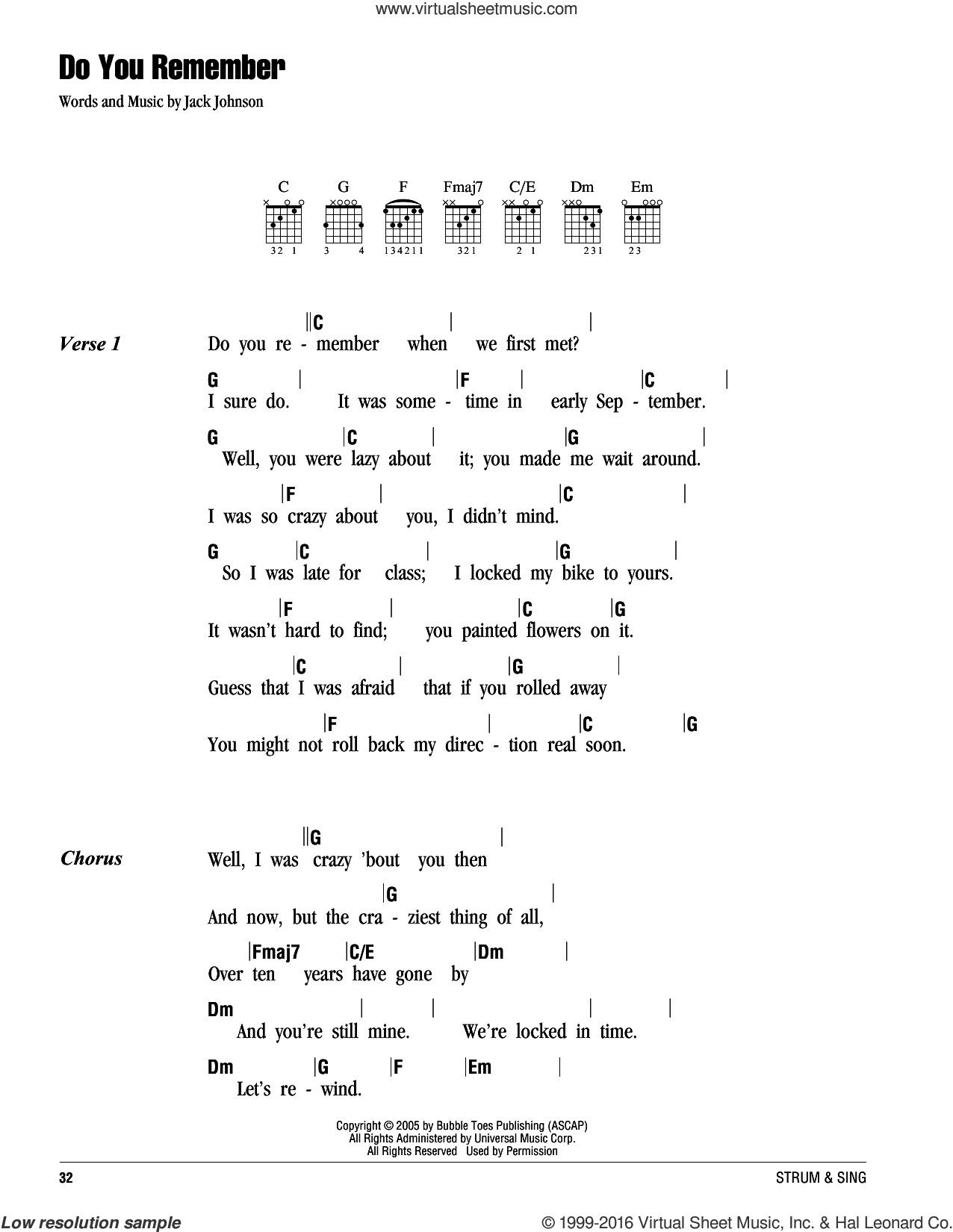 Do You Remember sheet music for guitar (chords) by Jack Johnson. Score Image Preview.
