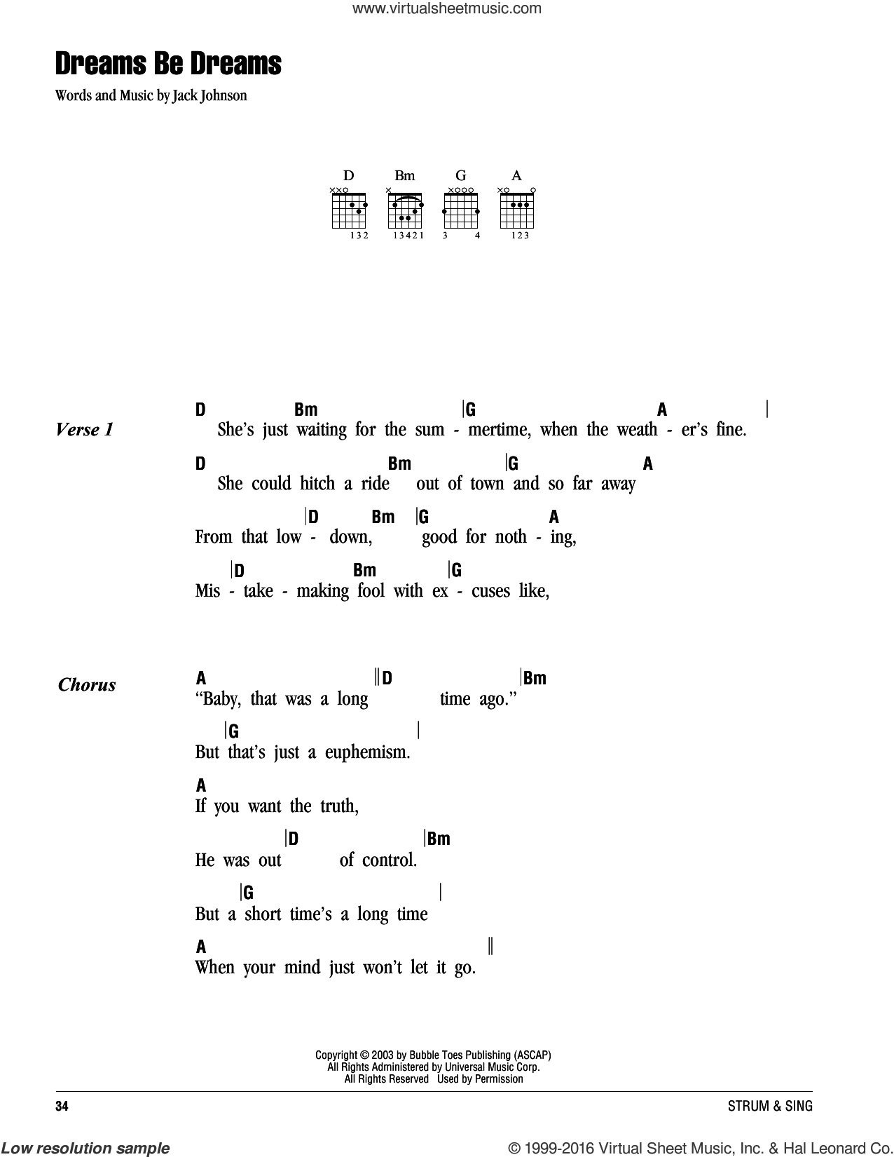 Dreams Be Dreams sheet music for guitar (chords) by Jack Johnson. Score Image Preview.