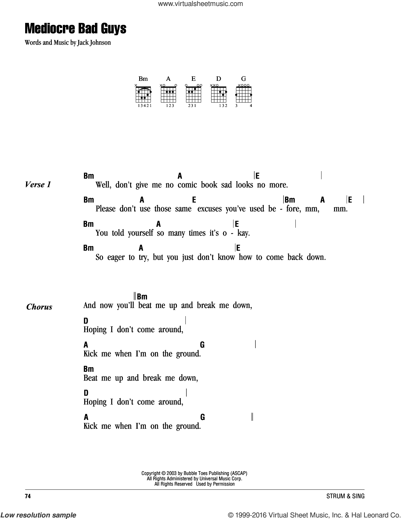 Mediocre Bad Guys sheet music for guitar (chords) by Jack Johnson