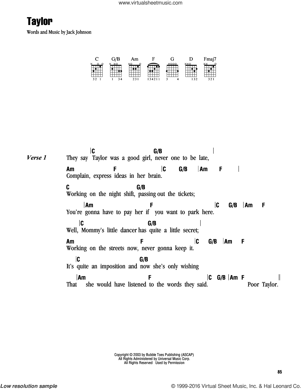 Taylor sheet music for guitar (chords) by Jack Johnson, intermediate. Score Image Preview.