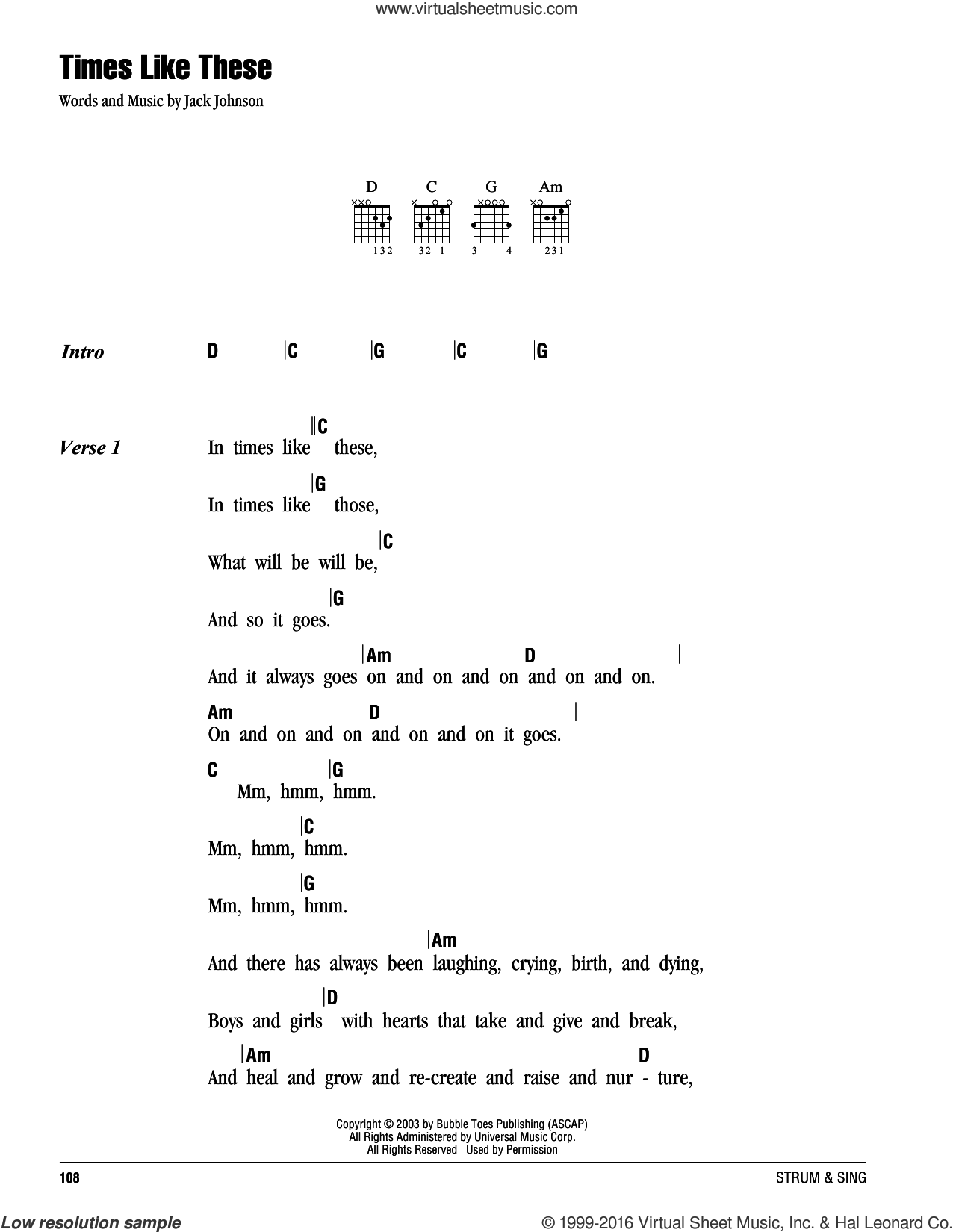 Times Like These sheet music for guitar (chords) by Jack Johnson. Score Image Preview.