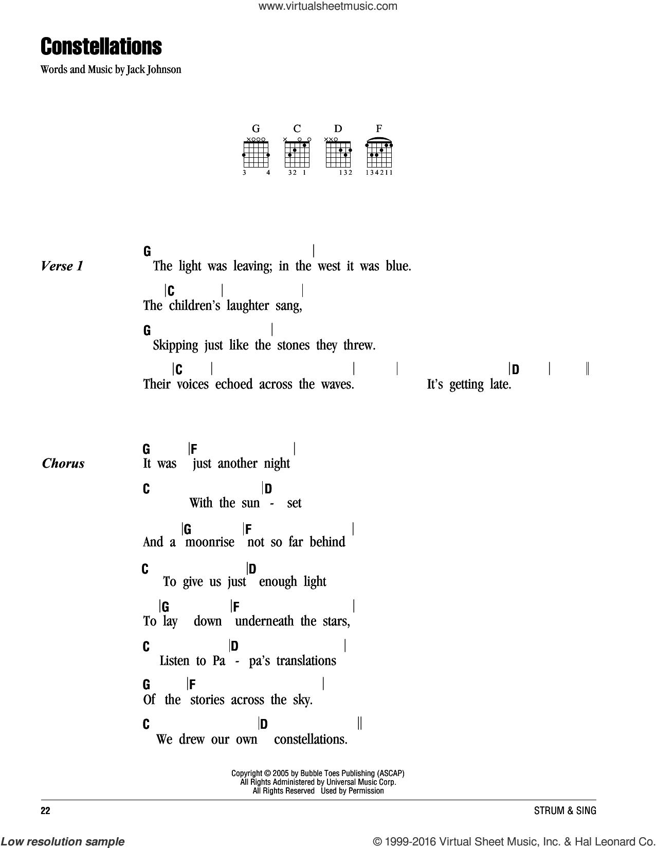 Constellations sheet music for guitar (chords) by Jack Johnson, intermediate skill level