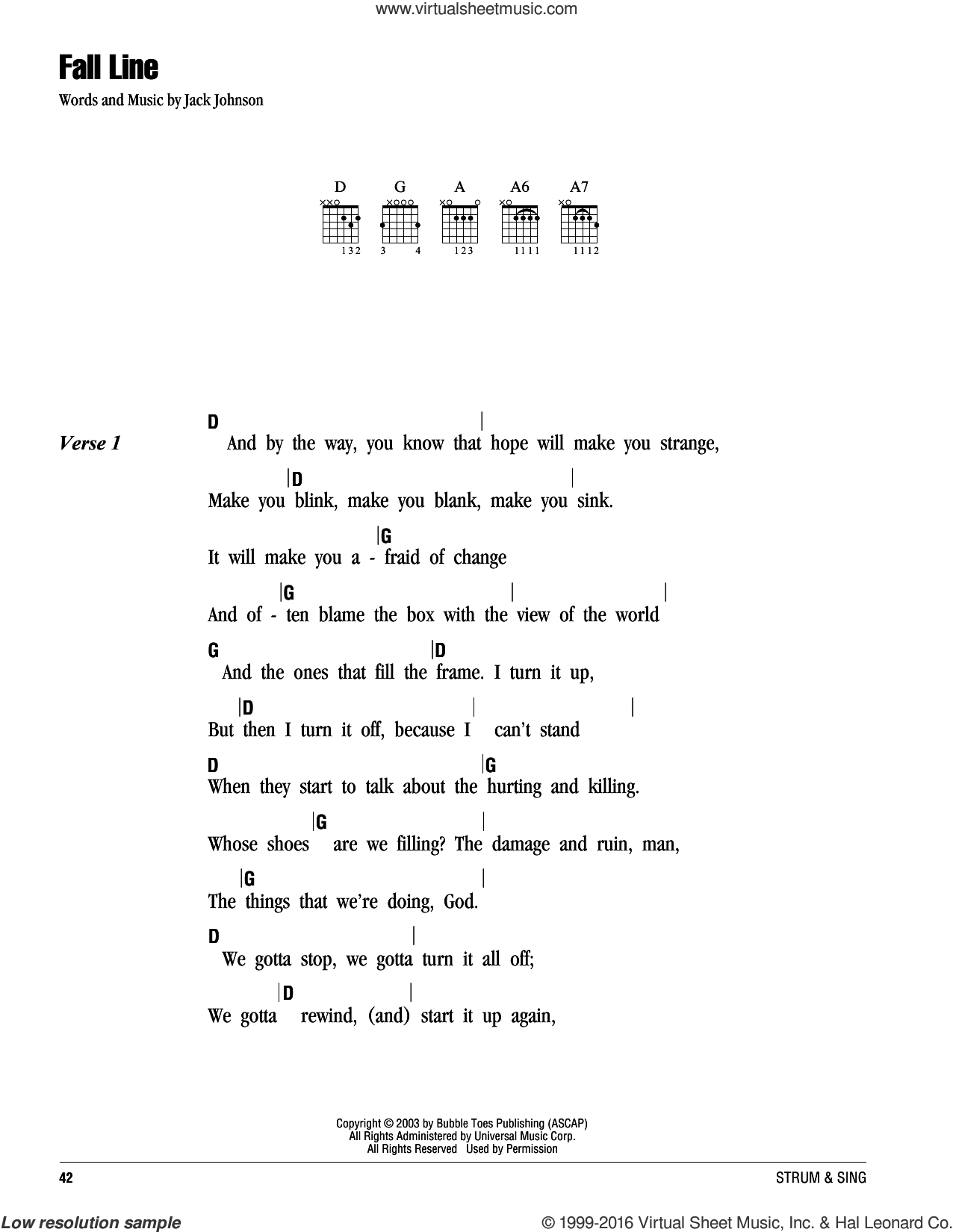 Fall Line sheet music for guitar (chords) by Jack Johnson. Score Image Preview.