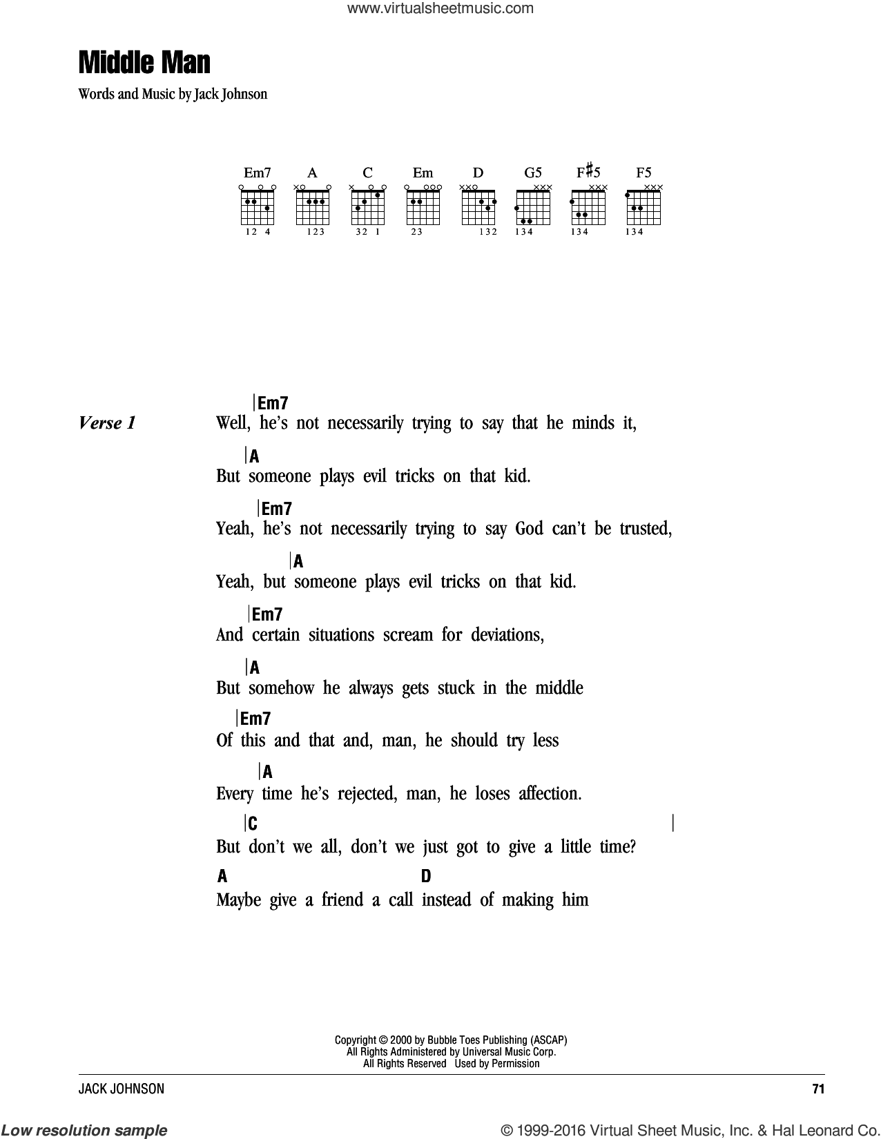Middle Man sheet music for guitar (chords) by Jack Johnson, intermediate. Score Image Preview.