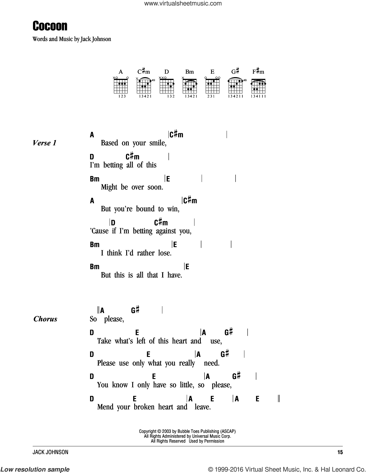 Cocoon sheet music for guitar (chords) by Jack Johnson, intermediate. Score Image Preview.
