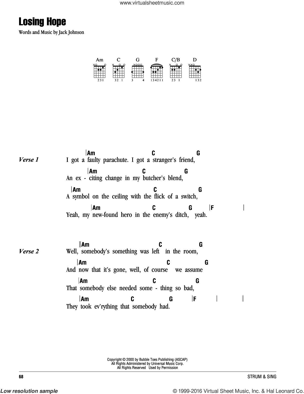 Losing Hope sheet music for guitar (chords) by Jack Johnson. Score Image Preview.