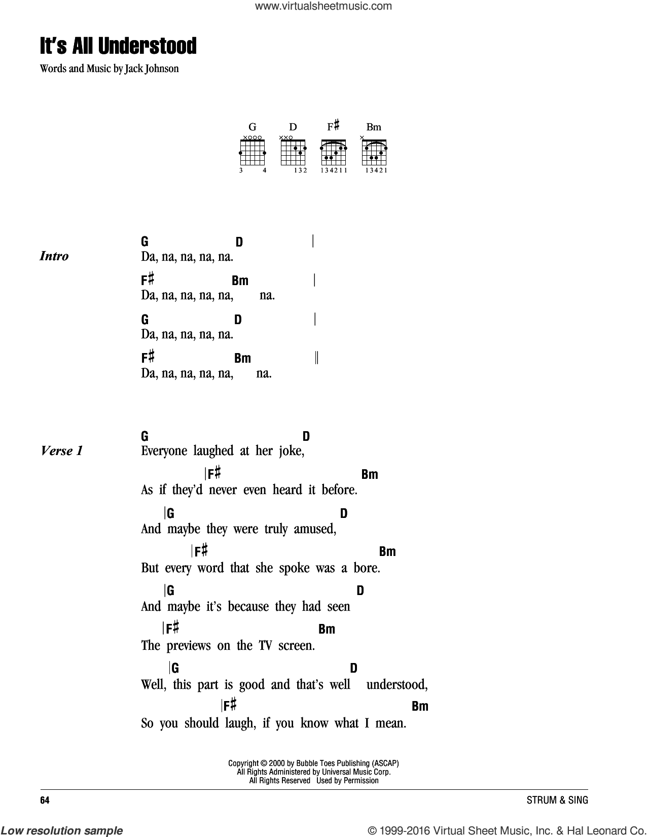 It's All Understood sheet music for guitar (chords) by Jack Johnson. Score Image Preview.