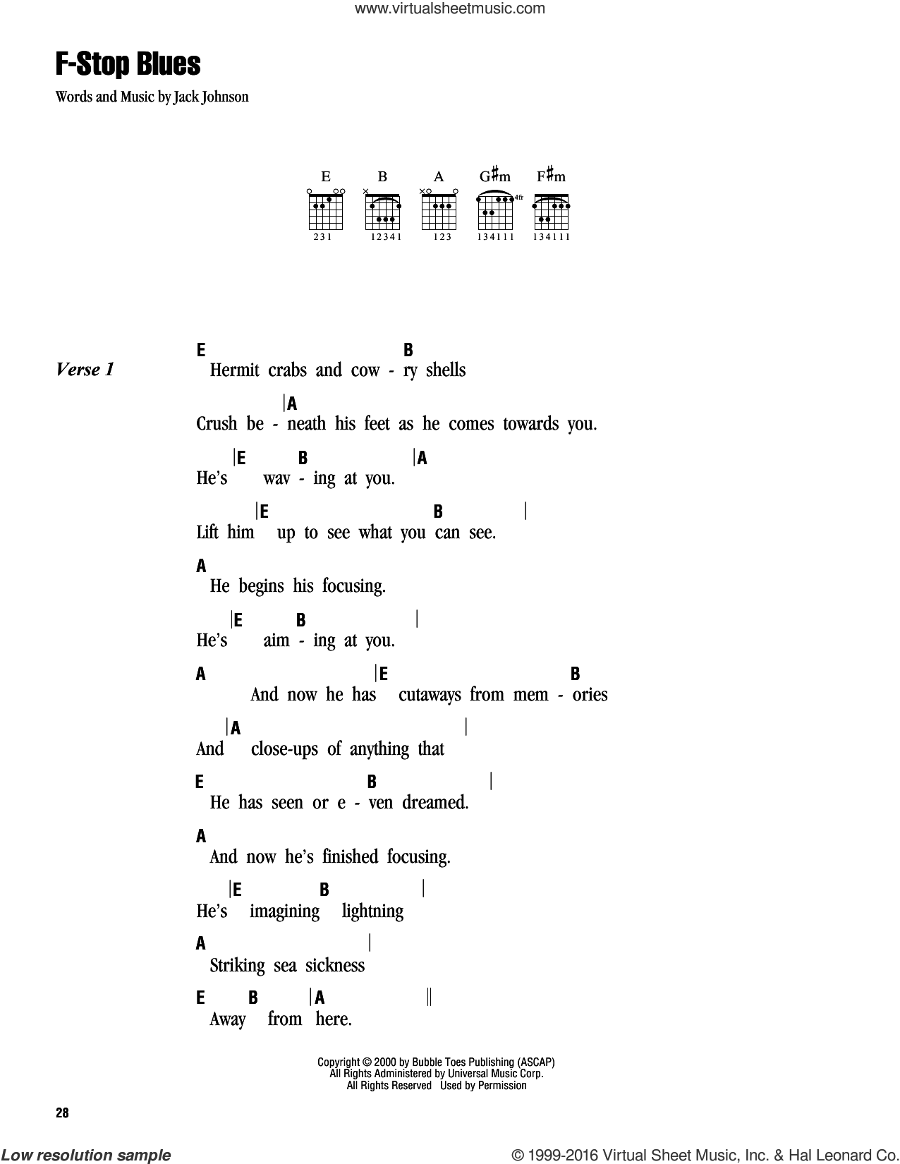F-Stop Blues sheet music for guitar (chords) by Jack Johnson. Score Image Preview.