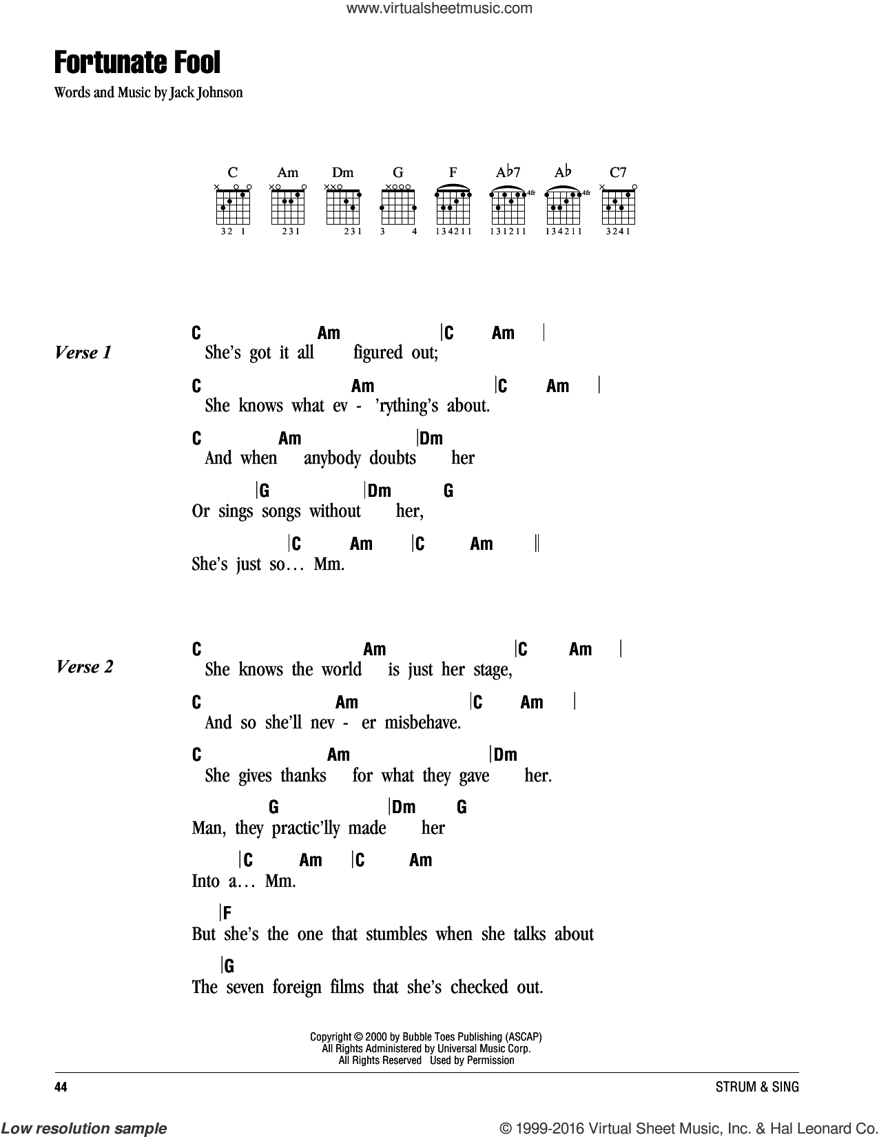 Fortunate Fool sheet music for guitar (chords) by Jack Johnson, intermediate skill level
