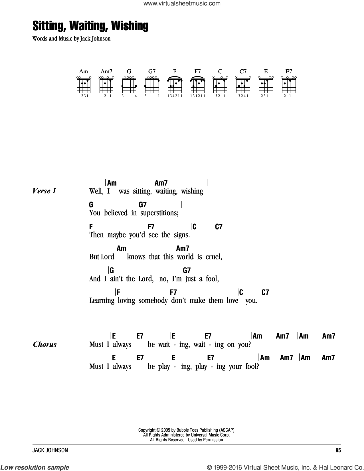 Sitting, Waiting, Wishing sheet music for guitar (chords) by Jack Johnson. Score Image Preview.
