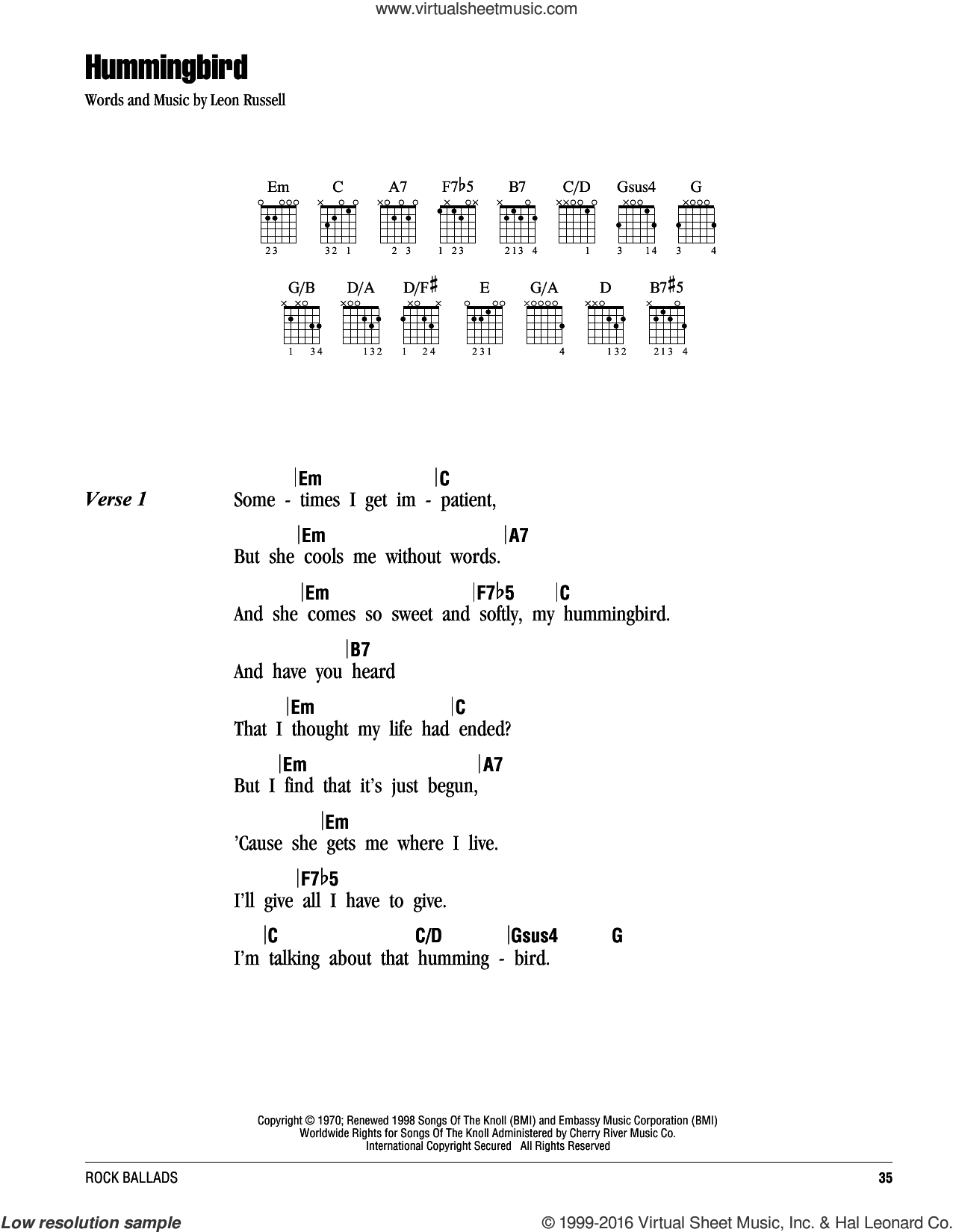 Hummingbird sheet music for guitar (chords) by Leon Russell, intermediate skill level