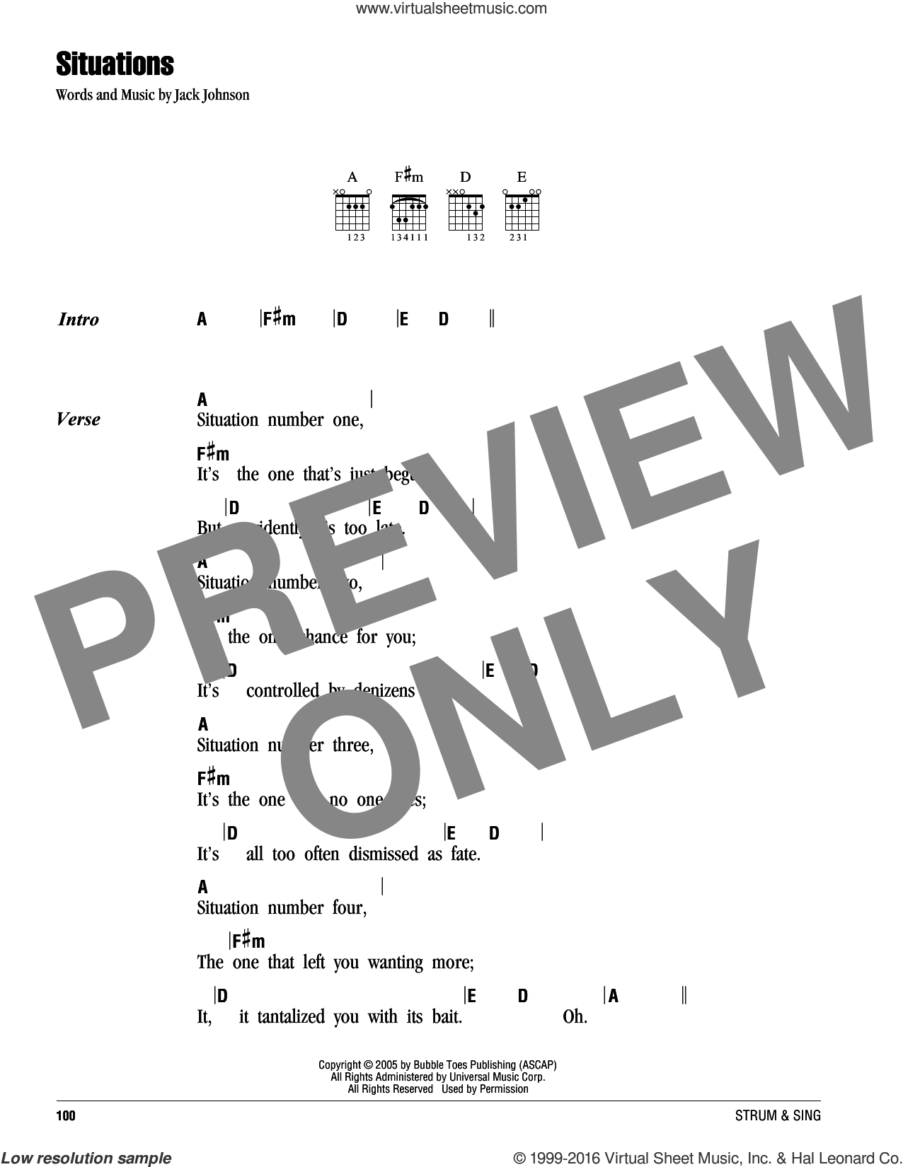 Situations sheet music for guitar (chords) by Jack Johnson, intermediate