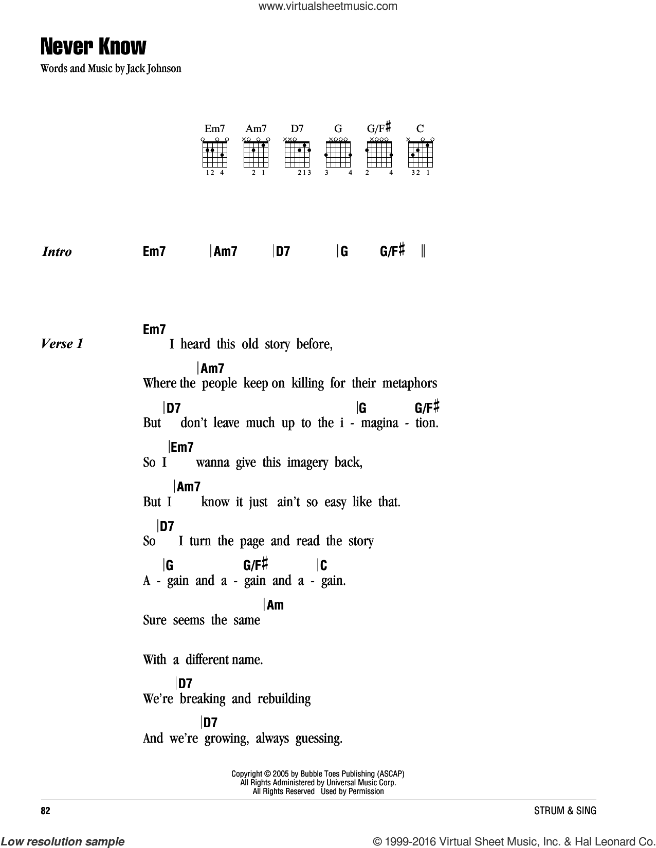 Never Know sheet music for guitar (chords) by Jack Johnson, intermediate guitar (chords). Score Image Preview.