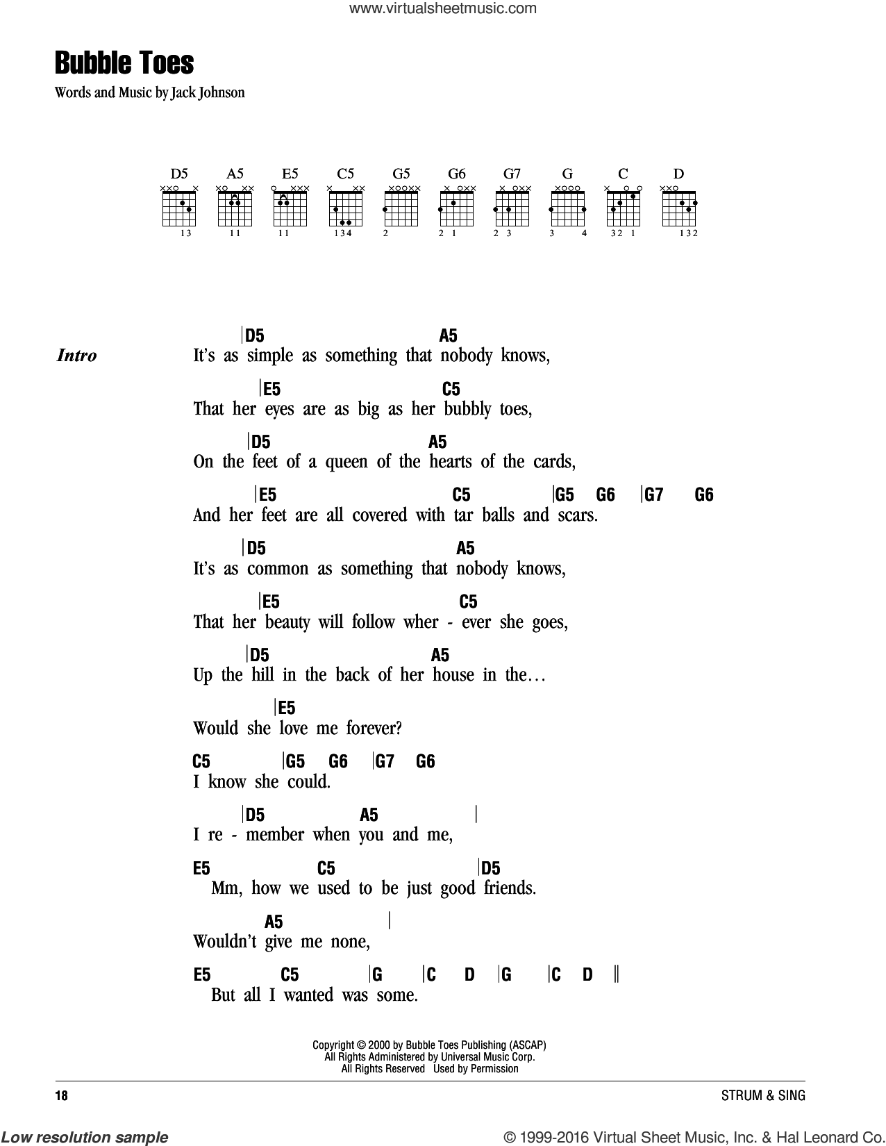 Bubble Toes sheet music for guitar (chords) by Jack Johnson. Score Image Preview.