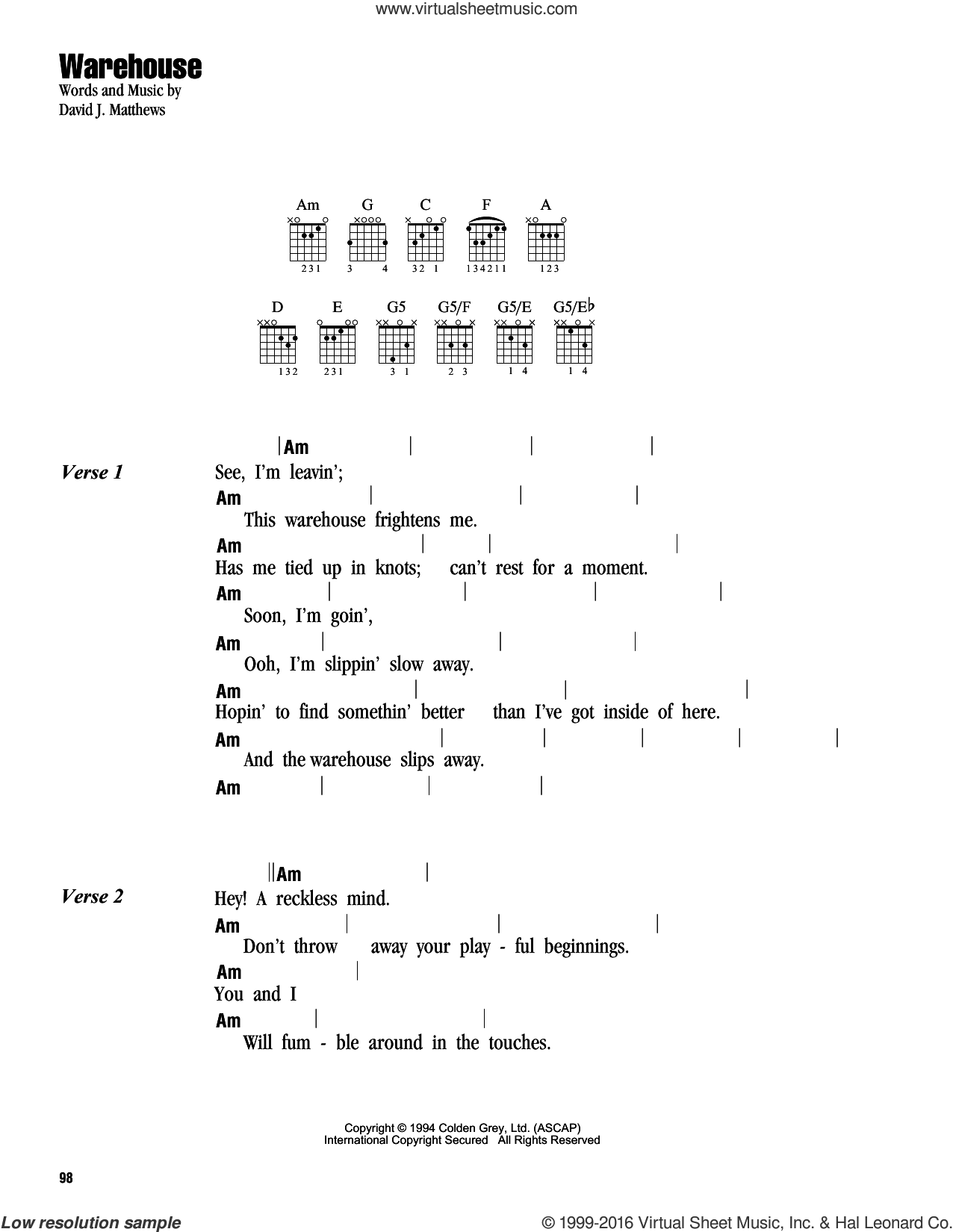 Warehouse sheet music for guitar (chords) by Dave Matthews Band, intermediate skill level