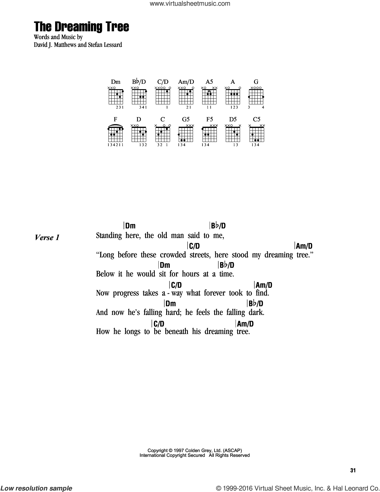 The Dreaming Tree sheet music for guitar (chords) by Dave Matthews Band and Stefan Lessard, intermediate skill level