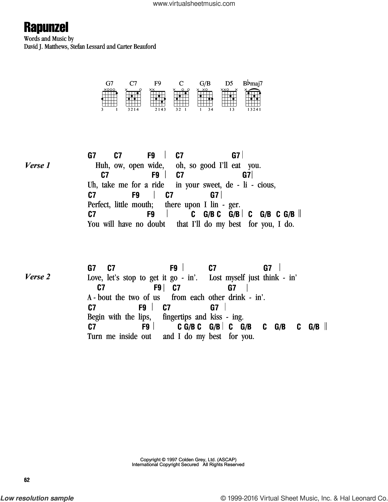 Rapunzel sheet music for guitar (chords) by Dave Matthews Band, intermediate. Score Image Preview.
