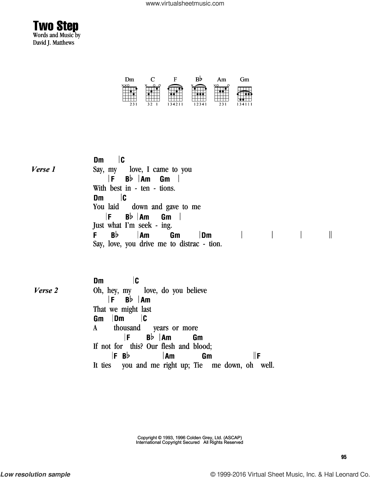 Two Step sheet music for guitar (chords) by Dave Matthews Band. Score Image Preview.