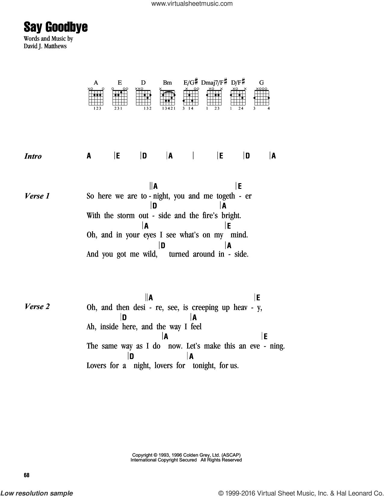 Band   Say Goodbye sheet music for guitar chords [PDF]