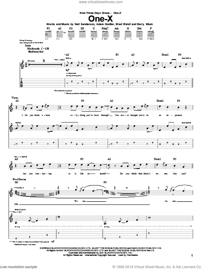 One-X sheet music for guitar (tablature) by Neil Sanderson, Three Days Grace and Barry Stock. Score Image Preview.